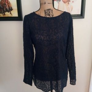 Ann Taylor navy blue lace top